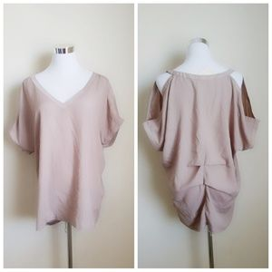 NWT Forever 21 tan open shoulder top